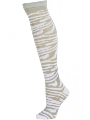 Julietta Zebra Print Knee Socks - 1 Pair - Grey/White