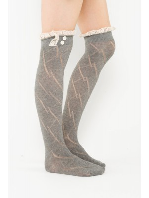 Diamond Pattern Boot Sock Liner - Charcoal