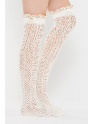 Chevron Pattern Boot Sock Liner - Cream