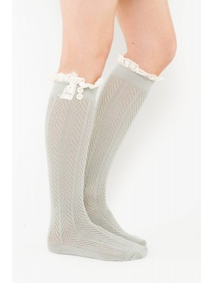 Chevron Pattern Boot Sock Liner - Light Gray
