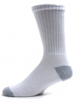 American Made Men's Grey Heel and Toe Crew Socks - 3 Pairs