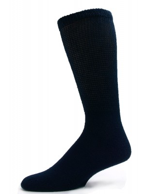 Sole Pleasers Men's King Size Navy Diabetic Crew Socks - 3 Pairs