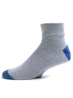 American Made Men's Gray Quarter Socks with Blue Heel and Toe - 3 Pairs