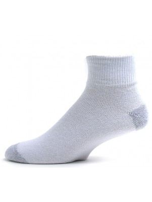 American Made Men's White/Grey Quarter Socks - 3 Pairs