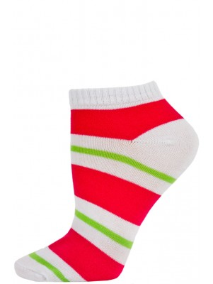 Chatties Women's Bright Stripe Low Cut Socks - 1 Pair - White/Pink/Green