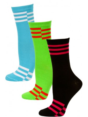 Yelete Neon Retro Stripe Crew Socks - 3 Pairs - Black, Lime Green, Aqua Blue