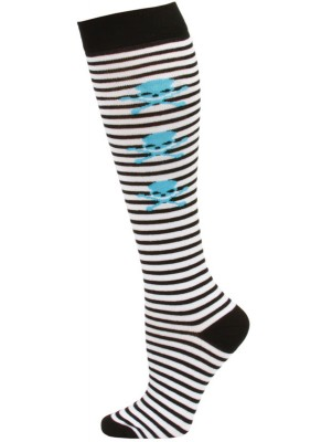 Yelete Stripes and Skulls Knee Socks - 1 Pair - White/Black/Blue Mini Skulls