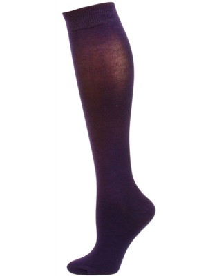 Yelete Women's Dark Solid Color Knee Socks - 1 Pair - Purple