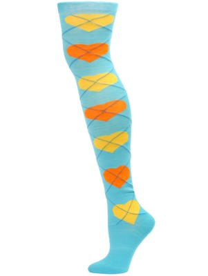 Yelete Argyle Hearts Over the Knee Socks - 1 Pair - Blue/Yellow/Orange