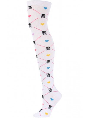 Yelete Argyle Skulls Over the Knee Socks - 1 Pair - White Multi