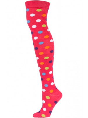 Yelete Polka Dot Over the Knee Socks - 1 Pair - Hot Pink Multi