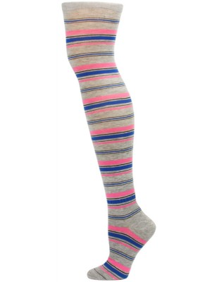 Yelete Dark Stripe Over the Knee Socks - 1 Pair - Grey/Pink Stripe