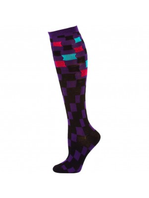 So Graphic Women's Metallic Patterned Knee Socks - 1 Pair - Purple Multi Squares