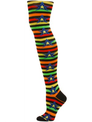 Yelete Stripes and Stars Over the Knee Socks - 1 Pair - Black/Red/Green Multi