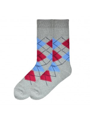 K. Bell Men's Dandy Argyle Crew Socks - Charcoal Heather