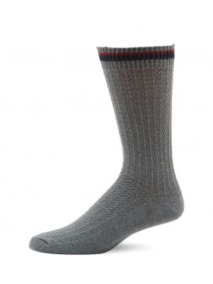 K. Bell Men's Stripe Welt Crew Socks - Charcoal Heather