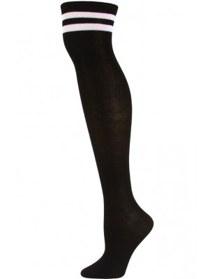 Julietta Retro Stripe Over the Knee Socks - 1 Pair - Black