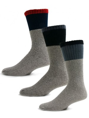 Thermalsport Men's Cotton Thermal Socks - 3 Pairs - Blue, Black, Grey