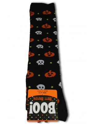Happy Halloween Women's Knee Socks - 1 Pair - Black - Pumpkin & Skull