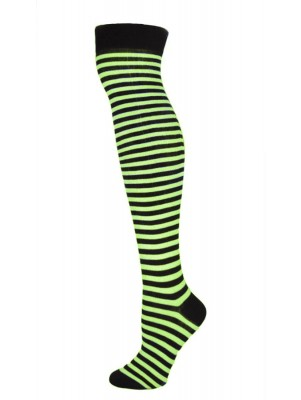 K. Bell Women's Over the Knee Striped Socks - Black & Lime