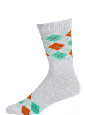 Fine Fit Men's Colorful Mini Argyle Dress Socks - 1 Pair - Light Grey and Orange/Green Argyle