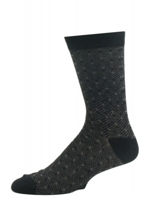 John Weitz Men's Patterned Dress Socks - 1 Pair - Black and Gray Grid
