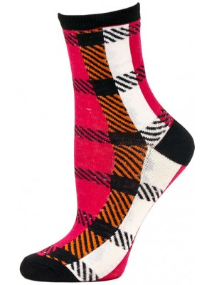Mad About Plaid Neon Crew Socks - 1 Pair - Black/Orange/Pink Checker Plaid