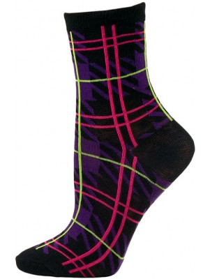 Mad About Plaid Neon Crew Socks - 1 Pair - Black/Purple Plaid