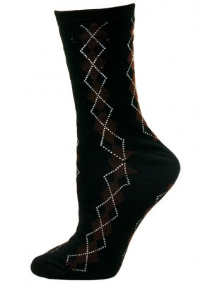 Chatties Women's Argyle Crew  Dress Socks - 1 Pair - Black, Brown