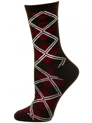 Chatties Women's Argyle Crew  Dress Socks - 1 Pair- Brown & Burgundy