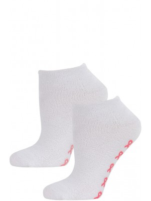 Breast Cancer Awareness Women's Terry Slipper Socks - 2 Pairs - White with Light & Dark Pink Skids