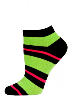 Chatties Women's Bright Stripe Low Cut Socks - 1 Pair - Black/Green/Pink