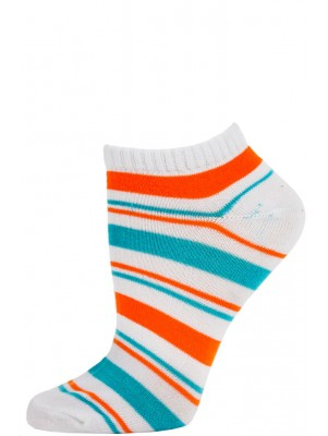 Chatties Women's Bright Stripe Low Cut Socks - 1 Pair - White/Orange/Blue