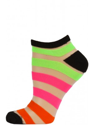 Chatties Women's Bright Stripe Jelly Low Cut Socks - 1 Pair - Black with Green/Pink/Orange