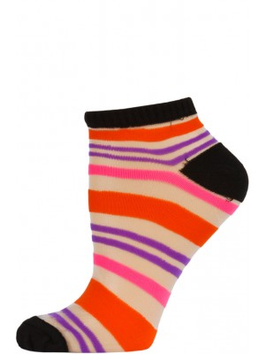 Chatties Women's Bright Stripe Mesh Low Cut Socks - 1 Pair - Black with Orange/Pink/Purple