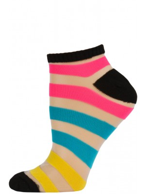 Chatties Women's Bright Stripe Mesh Low Cut Socks - 1 Pair - Black with Pink/Blue/Yellow