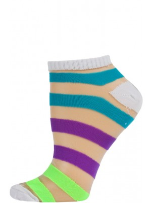 Chatties Women's Bright Stripe Mesh Low Cut Socks - 1 Pair - White with Blue/Purple/Green