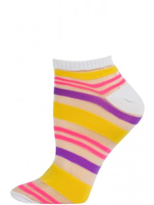 Chatties Women's Bright Stripe Jelly Low Cut Socks - 1 Pair - White with Yellow/Purple/Pink