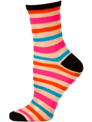 Chatties Women's Bright Stripe Jelly Crew Socks - 1 Pair - Black with Orange/Pink/Blue