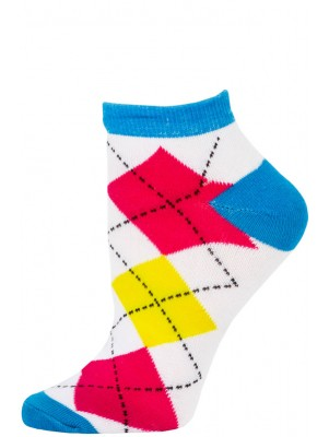Chatties Women's Neon Argyle Low Cut Socks - 1 Pair - Blue/White Large Argyle