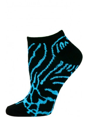 Wild Thing Women's Animal Print No Show Socks - 1 Pair - Black/Blue Animal Print