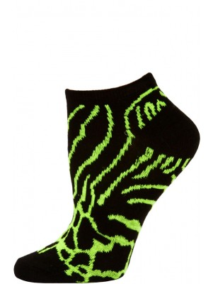 Wild Thing Women's Animal Print No Show Socks - 1 Pair - Black/Green Animal Print
