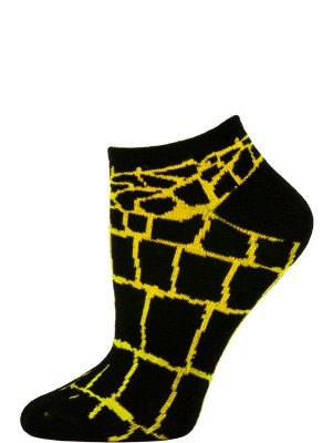 Wild Thing Women's Animal Print No Show Socks - 1 Pair - Black/Yellow Snake - Croc
