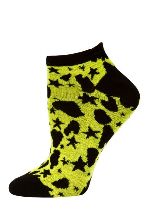 Wild Thing Women's Animal Print No Show Socks - 1 Pair - Black/Yellow Star Cheetah