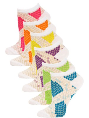 Chatties Women's Snake Print Low Cut Socks - 6 Pairs - White with Blue, Green, Purple, Yellow, Orange, Pink