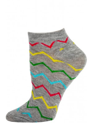 Chatties Women's Zig-Zag Chevron Low Cut Socks - 1 Pair - Grey Multi
