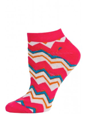 Chatties Women's Zig-Zag Chevron Low Cut Socks - 1 Pair - Pink/White Multi