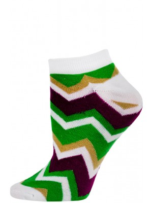 Chatties Women's Zig-Zag Chevron Low Cut Socks - 1 Pair - White/Green/Purple