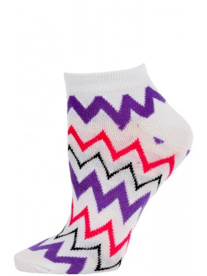 Chatties Women's Zig-Zag Chevron Low Cut Socks - 1 Pair - White/Purple/Pink
