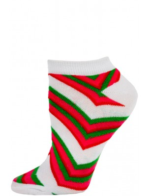 Chatties Women's Zig-Zag Chevron Low Cut Socks - 1 Pair - White/Pink/Green